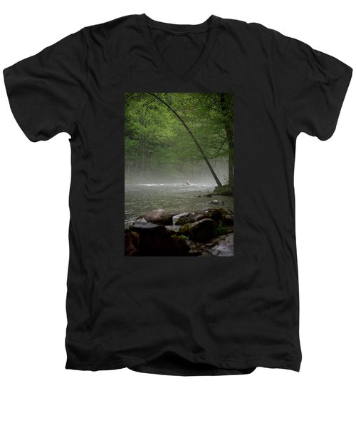 Rafting Misty River Men's V-Neck T-Shirt by Lawrence Boothby