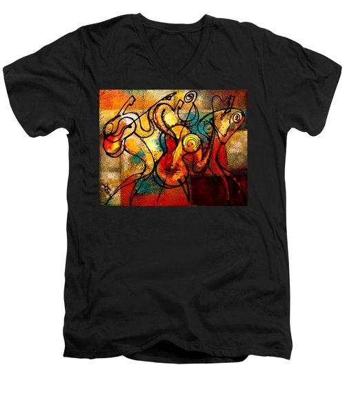 Ragtime Men's V-Neck T-Shirt by Leon Zernitsky