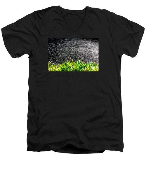 Rain In The Garden Men's V-Neck T-Shirt by Edgar Laureano