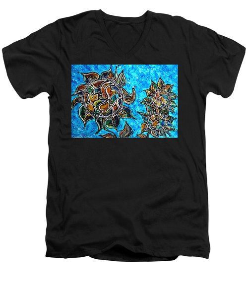 Rainbow Color Sunflowers Alcohol Inks Men's V-Neck T-Shirt