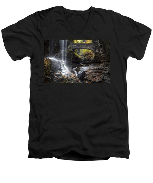 Rainbow Falls Men's V-Neck T-Shirt by Eduard Moldoveanu