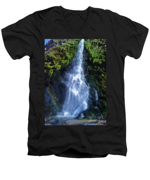 Men's V-Neck T-Shirt featuring the photograph Rainbow Falls by John Williams