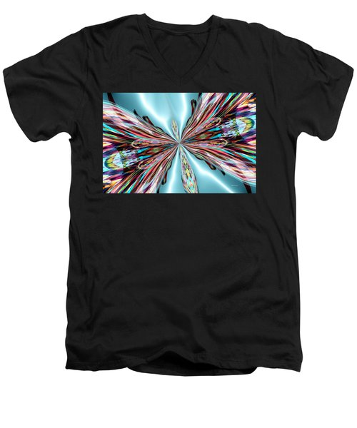 Rainbow Glass Butterfly On Blue Satin Men's V-Neck T-Shirt