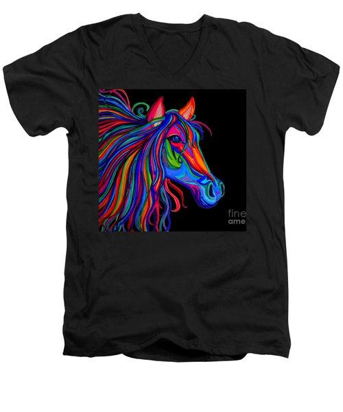 Rainbow Horse Head Men's V-Neck T-Shirt by Nick Gustafson