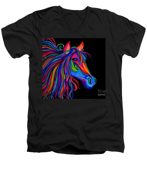 Rainbow Horse Head Men's V-Neck T-Shirt
