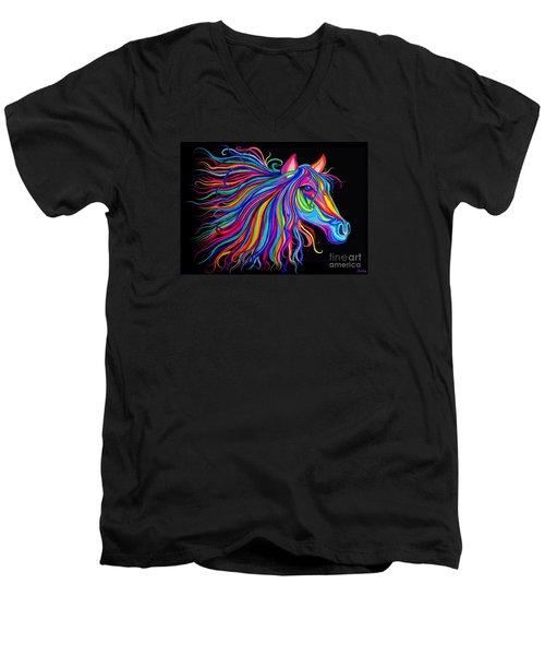 Rainbow Horse Too Men's V-Neck T-Shirt by Nick Gustafson