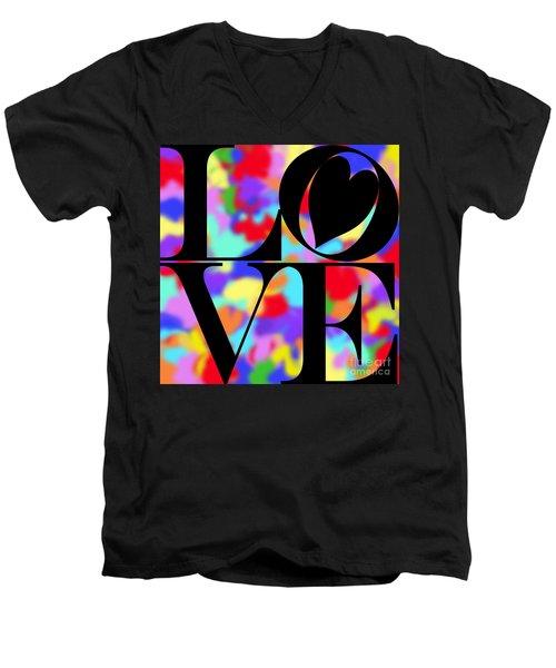Rainbow Love In Black Men's V-Neck T-Shirt by Kasia Bitner