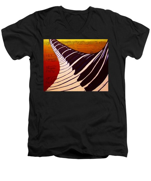 Rainbow Piano Keyboard Twist In Acrylic Paint With Sheet Music Notes In Blue Yellow Orange Red Men's V-Neck T-Shirt by M Zimmerman MendyZ