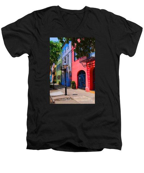 Rainbow Row Charleston Men's V-Neck T-Shirt by Skip Willits