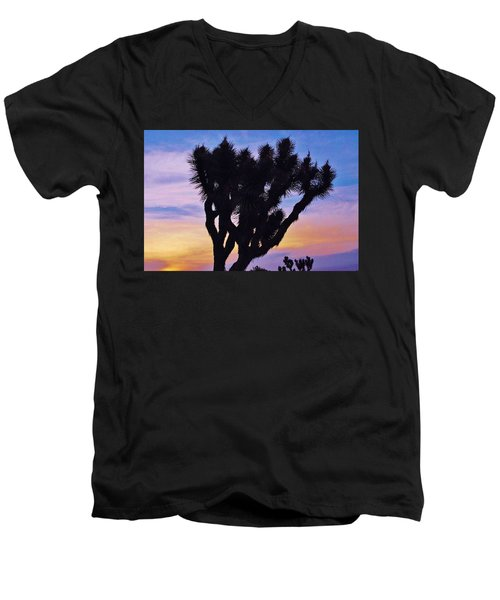 Men's V-Neck T-Shirt featuring the photograph Rainbow Yucca by Angela J Wright