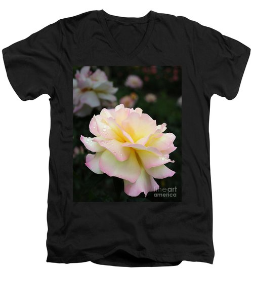 Men's V-Neck T-Shirt featuring the photograph Raindrops On Rose Petals by Barbara McMahon