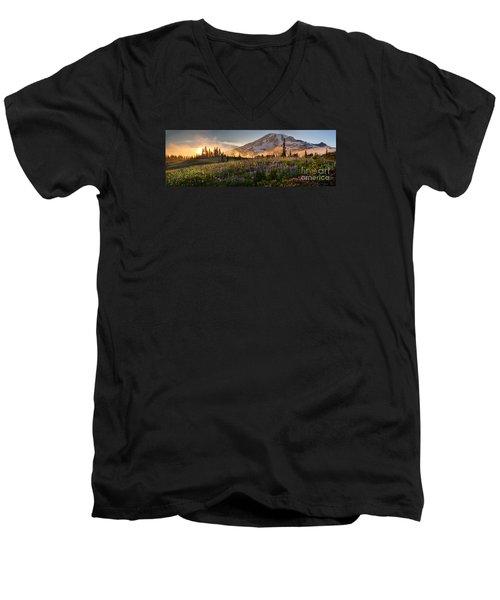 Rainier Golden Light Sunset Meadows Men's V-Neck T-Shirt by Mike Reid