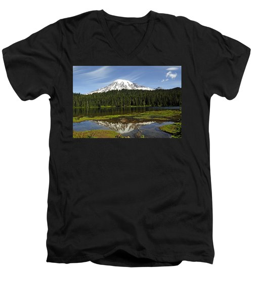 Rainier's Reflection Men's V-Neck T-Shirt by Tikvah's Hope