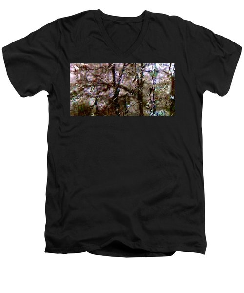 Men's V-Neck T-Shirt featuring the photograph Rainscape - Rain On The Window Series 3 Abstract Photo by Marianne Dow