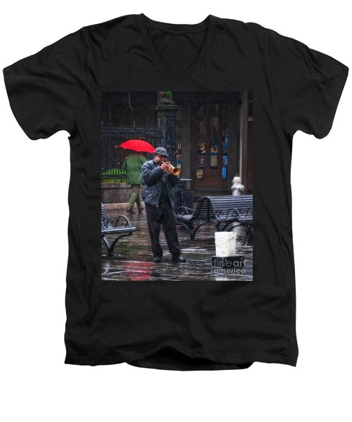 Rainy Day Blues New Orleans Men's V-Neck T-Shirt by Kathleen K Parker