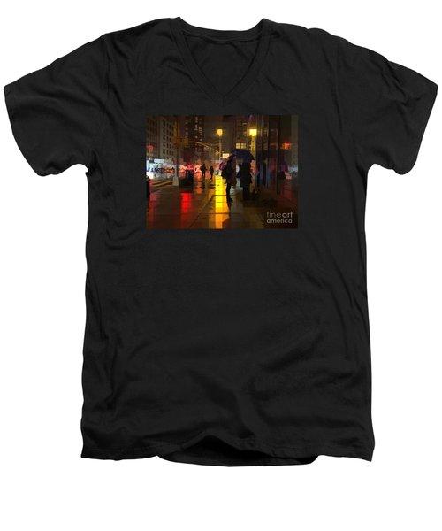Rainy Night New York Men's V-Neck T-Shirt by Miriam Danar