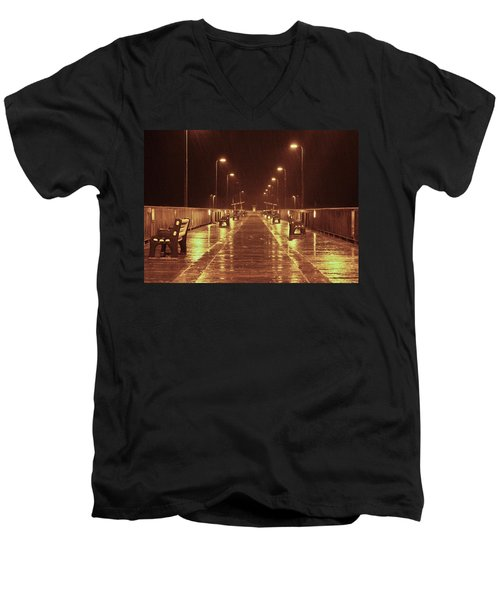 Rainy Night On The Pier Men's V-Neck T-Shirt