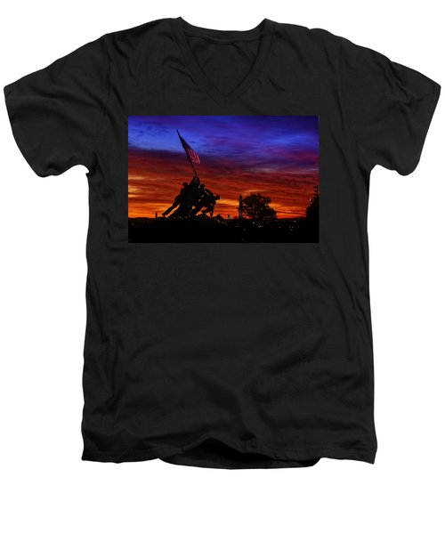 Raising The Flag Men's V-Neck T-Shirt