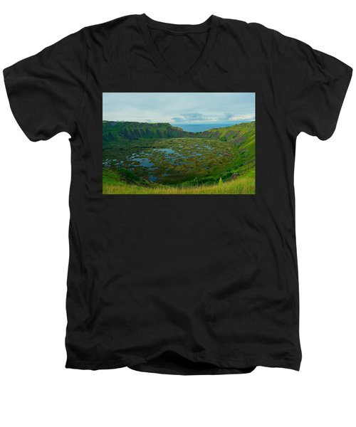 Rano Kau Kau Crater Men's V-Neck T-Shirt