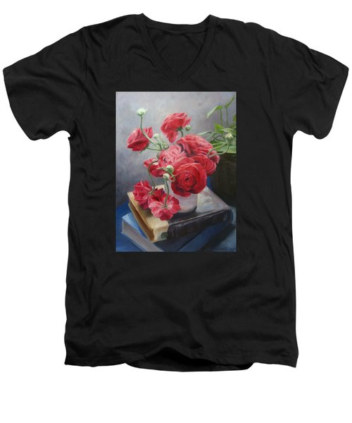 Ranunculus On Books Men's V-Neck T-Shirt