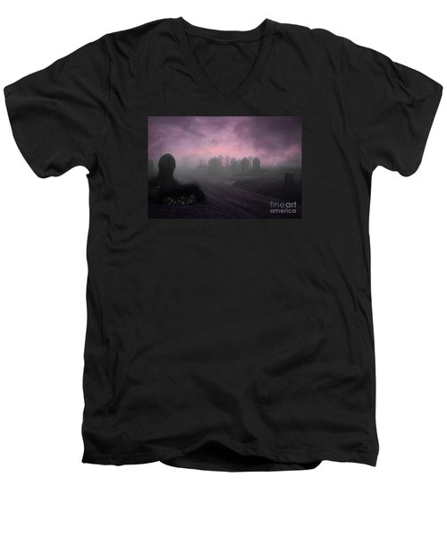 Men's V-Neck T-Shirt featuring the photograph Rave In The Grave by Terri Waters