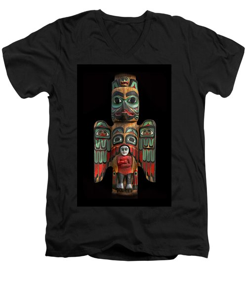 Raven And Saxman Totem Men's V-Neck T-Shirt by Gary Warnimont