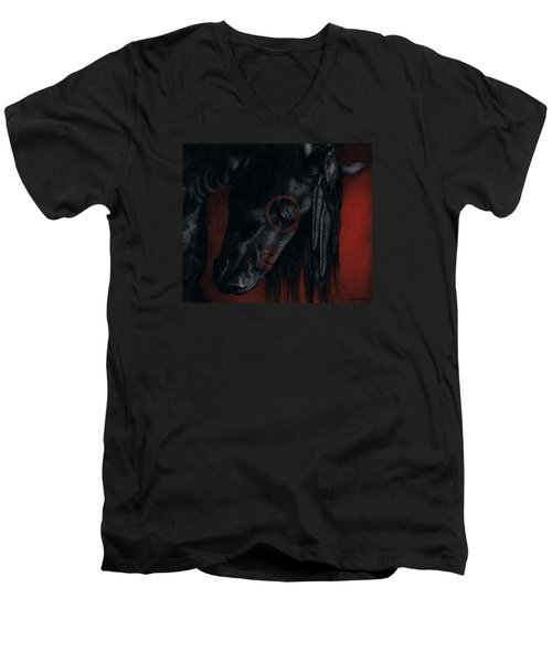 Men's V-Neck T-Shirt featuring the painting Raven Wing by Pat Erickson
