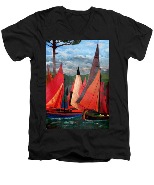 Men's V-Neck T-Shirt featuring the painting Ravenna Regatta by Tracey Harrington-Simpson