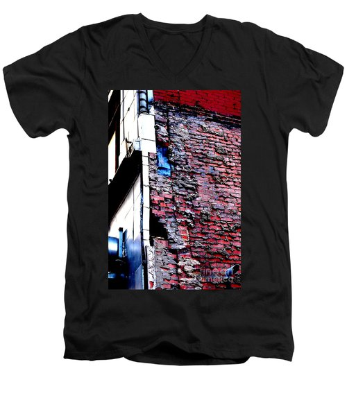 Men's V-Neck T-Shirt featuring the photograph Raw Brick Bones by Christiane Hellner-OBrien