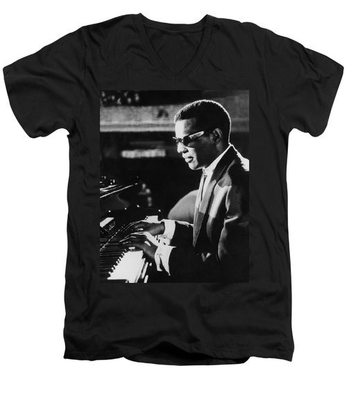 Ray Charles At The Piano Men's V-Neck T-Shirt