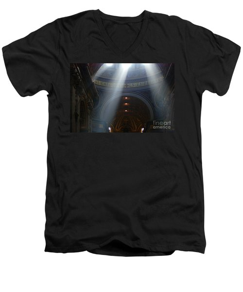 Rays Of Hope St. Peter's Basillica Italy  Men's V-Neck T-Shirt by Bob Christopher