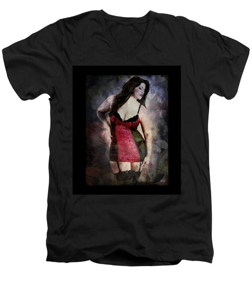 Real Woman Real Curves Men's V-Neck T-Shirt by Absinthe Art By Michelle LeAnn Scott