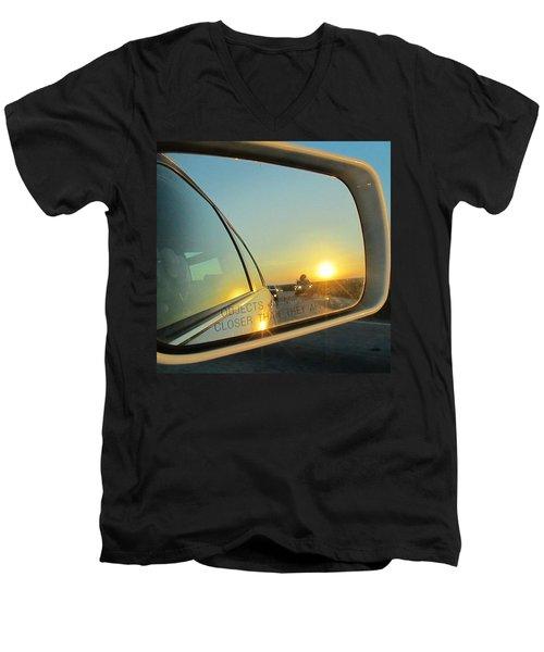 Rear View Sunset Men's V-Neck T-Shirt by Deborah Lacoste