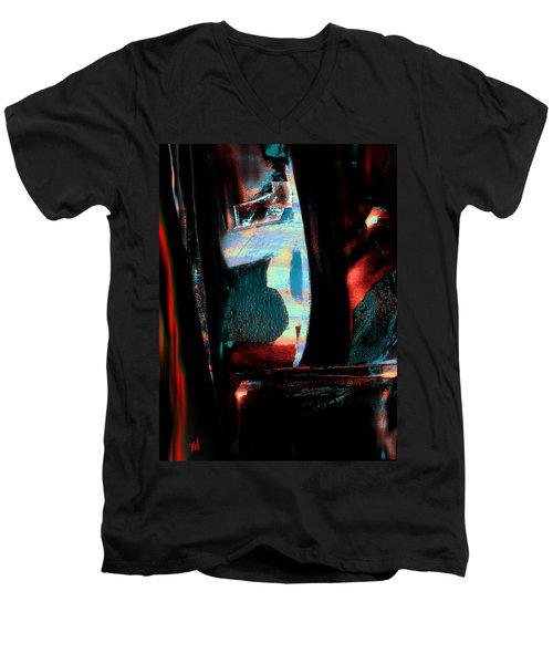 Men's V-Neck T-Shirt featuring the painting Reasons- Ewf Series 5 by Yul Olaivar
