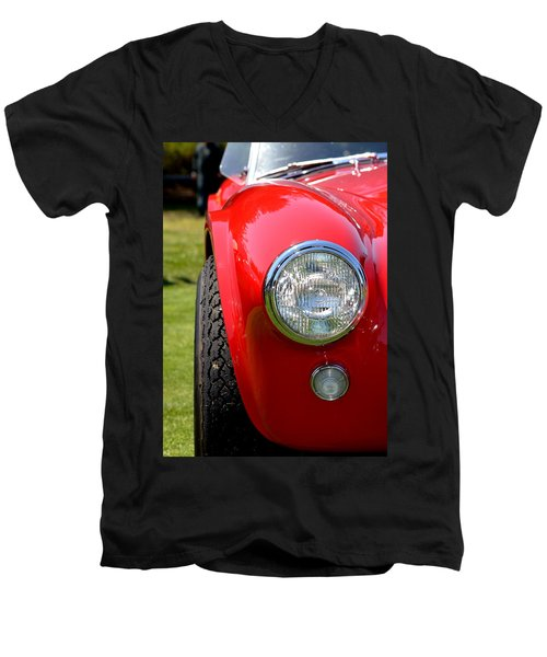 Men's V-Neck T-Shirt featuring the photograph Red Ac Cobra by Dean Ferreira