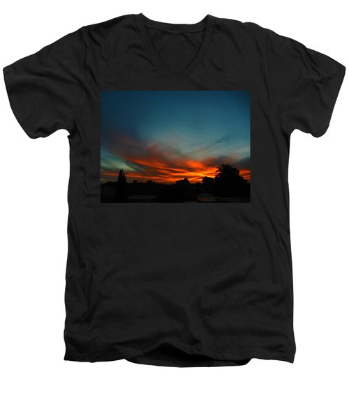 Red And Green Sunset Men's V-Neck T-Shirt by Mark Blauhoefer
