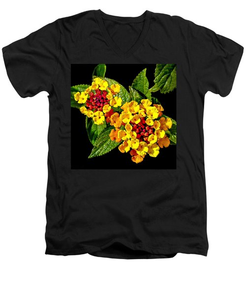 Red And Yellow Lantana Flowers With Green Leaves Men's V-Neck T-Shirt