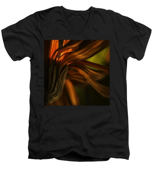 Men's V-Neck T-Shirt featuring the photograph Red Autumn Blossom Detail by Peter v Quenter