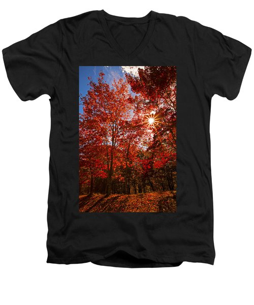 Men's V-Neck T-Shirt featuring the photograph Red Autumn Leaves by Jerry Cowart