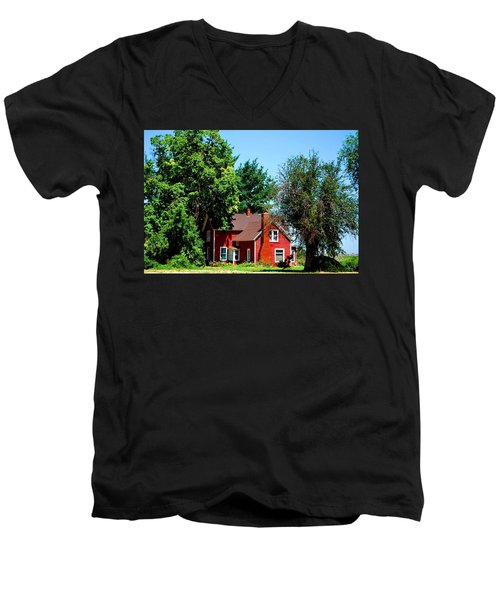 Men's V-Neck T-Shirt featuring the photograph Red Barn And Trees by Matt Harang