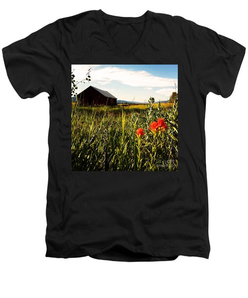 Men's V-Neck T-Shirt featuring the photograph Red Barn by Meghan at FireBonnet Art