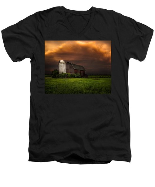 Men's V-Neck T-Shirt featuring the photograph Red Barn Stormy Sky - Rustic Dreams by Gary Heller
