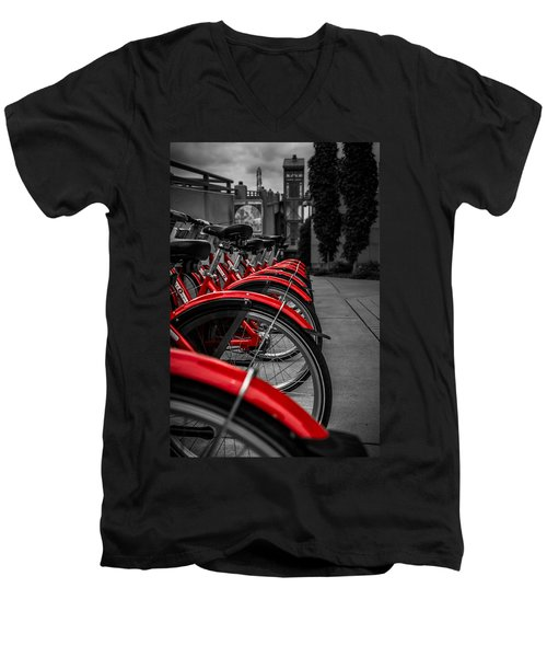 Red Bicycles Men's V-Neck T-Shirt