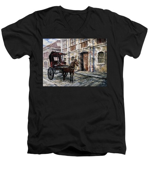 Men's V-Neck T-Shirt featuring the painting Red Carriage by Joey Agbayani
