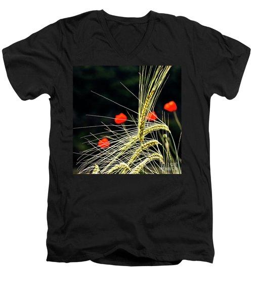 Red Corn Poppies Men's V-Neck T-Shirt