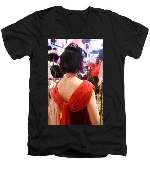 Red Men's V-Neck T-Shirt by David Trotter