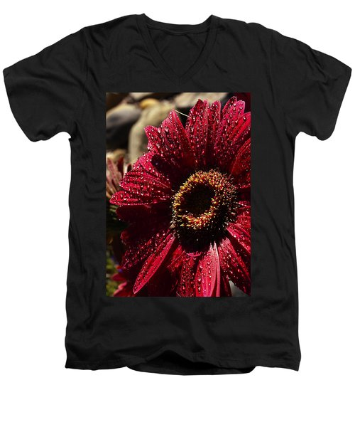 Men's V-Neck T-Shirt featuring the photograph Red Dew by Joe Schofield
