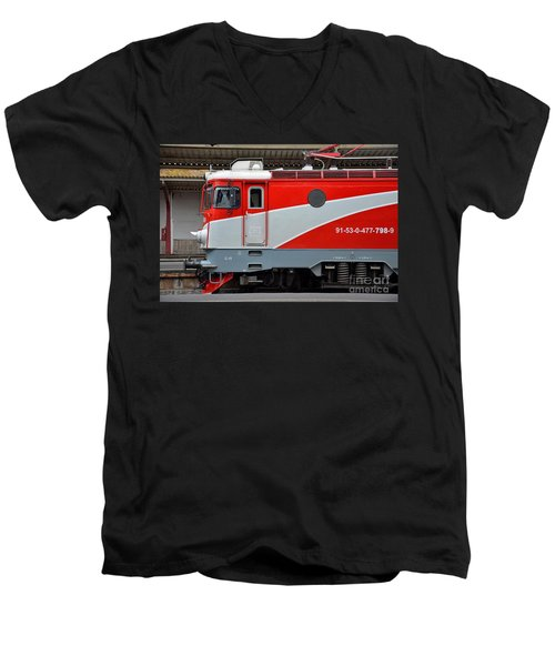 Men's V-Neck T-Shirt featuring the photograph Red Electric Train Locomotive Bucharest Romania by Imran Ahmed