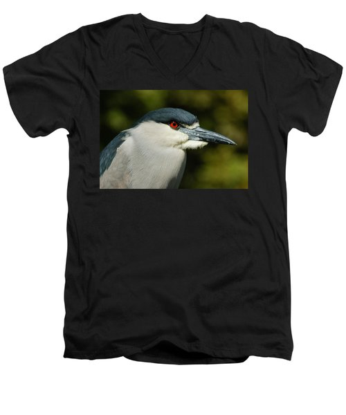 Men's V-Neck T-Shirt featuring the photograph Red Eye - Black-crowned Night Heron Portrait by Georgia Mizuleva