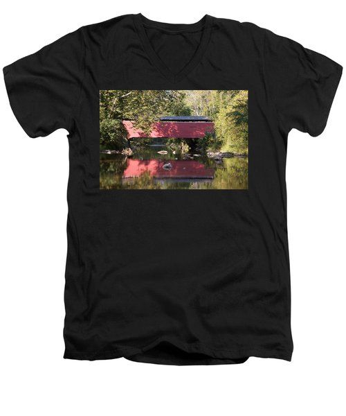 Red Fairhill Covered Bridge Two Men's V-Neck T-Shirt